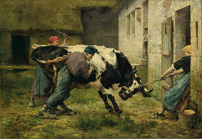 Clouds Rights Managed Images - Julien Dupre  On the Farm c1886 Royalty-Free Image by Artistic Rifki