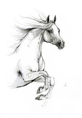 Animals Drawings - Jumping horse 2019 09 04 by Angel Ciesniarska