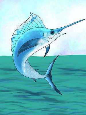 Animals Digital Art - Jumping Marlin by Penny FireHorse