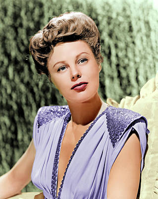 Peacock Feathers - June Allyson colorized by Stars on Art