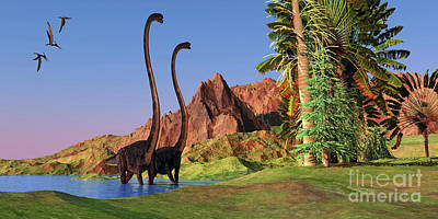 Achieving - Jurassic Omeisaurus Dinosaurs by Corey Ford