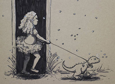 Drawing - Just A Walk by Heather Young