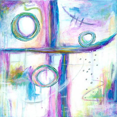 Farm Life Paintings Rob Moline - Just the Three of Us, Abstract Expressionist Painting by Itaya Lightbourne