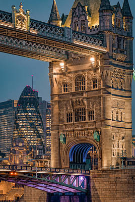Bath Time - Juxtaposition between Tower bridge and The Gherkin, London. by George Afostovremea