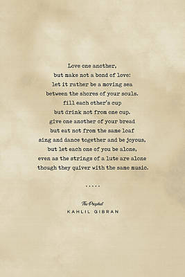 Royalty-Free and Rights-Managed Images - Kahlil Gibran Quote 06 - Typewriter quote on Old Paper - Literary Poster - Book Lover Gifts by Studio Grafiikka