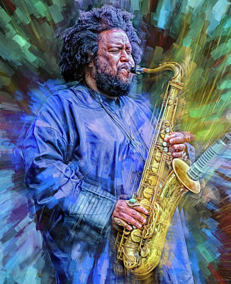 Jazz Mixed Media Royalty Free Images - Kamasi Washington Musician Royalty-Free Image by Mal Bray