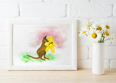 Painting - Kangaroo Joey With Teddy by Dara Thomson