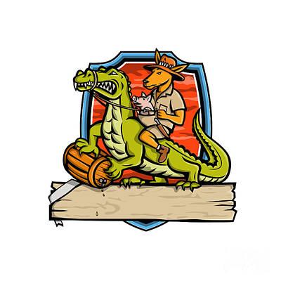 Katharine Hepburn - Kangaroo Riding Crocodile Crest Mascot by Aloysius Patrimonio
