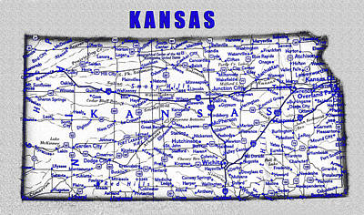 Science Collection - Kansas blue print work by David Lee Thompson