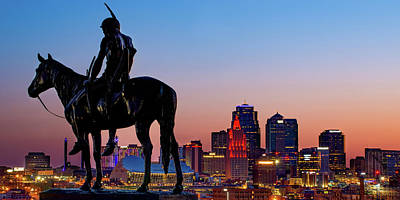 Royalty-Free and Rights-Managed Images - Kansas City Scout and Skyline Dawn Panorama by Gregory Ballos