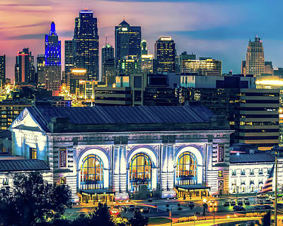Lucille Ball Royalty Free Images - Kansas City Skyline And Union Station At Dusk Royalty-Free Image by Gregory Ballos