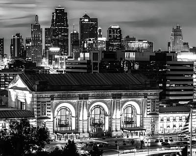 Lucille Ball Royalty Free Images - Kansas City Skyline And Union Station At Dusk in Black and White Royalty-Free Image by Gregory Ballos
