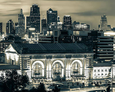 Everett Collection - Kansas City Skyline And Union Station At Dusk in Sepia by Gregory Ballos