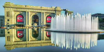 Royalty-Free and Rights-Managed Images - Kansas City Union Station Fountain Panorama - Go Chiefs by Gregory Ballos