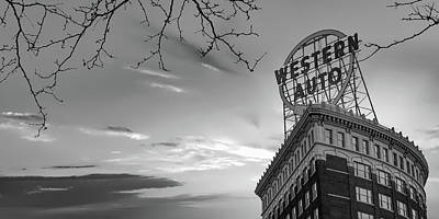 Royalty-Free and Rights-Managed Images - Kansas City Western Auto Building Monochrome Panorama by Gregory Ballos