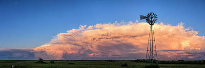 Scott Bean Rights Managed Images - Kansas Storm and Windmill Royalty-Free Image by Scott Bean