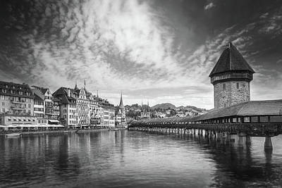 Watercolor Typographic Countries - Kappelbrucke and Old Town Lucerne Switzerland Black and White  by Carol Japp
