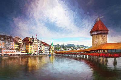 Watercolor Typographic Countries - Kappelbrucke and Old Town Lucerne Switzerland Painterly  by Carol Japp