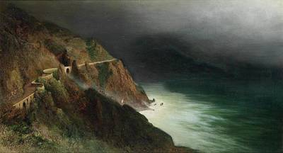 Owls - Karl Wilhelm Diefenbach Coastal Road near Sorrento Amalfi by Artistic Rifki