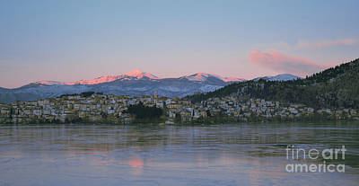 Pop Art - Kastoria with frozen lake by Athina Psoma