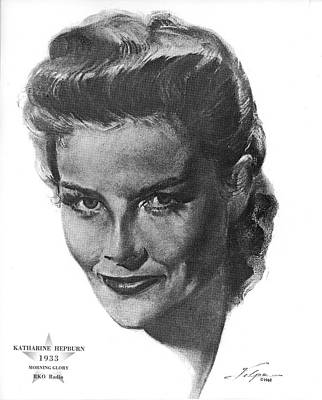 Drawings Royalty Free Images - Katharine Hepburn by Volpe Royalty-Free Image by Stars on Art