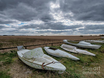 Staff Picks Judy Bernier - Kayaks boats for hunting in Stauning harbor, Denmark by Frank Bach