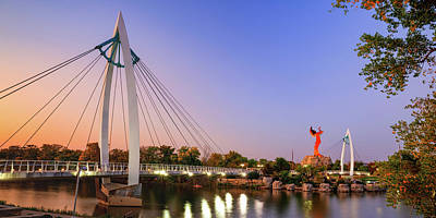 Royalty-Free and Rights-Managed Images - Keeper of The Plains Panorama At Sunset - Wichita Kansas by Gregory Ballos