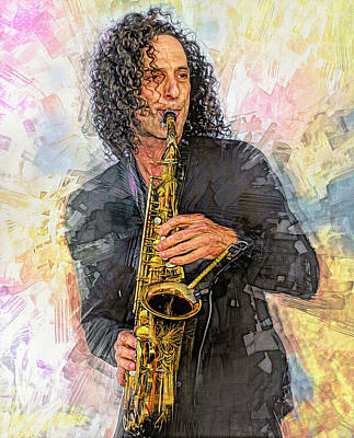 Mixed Media Royalty Free Images - Kenny G Royalty-Free Image by Mal Bray