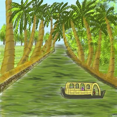 Transportation Digital Art - kerala Backwaters by Mandakini Chakravarthi
