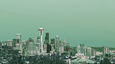 Surrealism Digital Art - Kerry Park, Seattle skyline, United States - Surreal Art by Ahmet Asar by Celestial Images