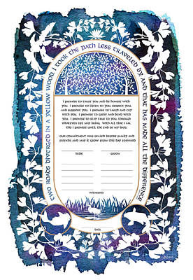 Digital Art - Ketubah, Marriage Vows by Jennifer Fairman