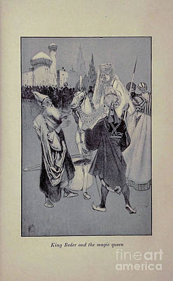 Drawings Royalty Free Images - King Beder and the magic queen i Royalty-Free Image by Historic illustrations