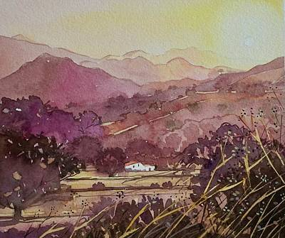 Abstract Alcohol Inks - King Gillette Ranch to Malibu Creek - Golden Hour  by Luisa Millicent