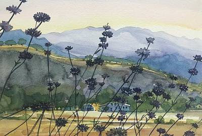 Target Threshold Watercolor - King Gillette Ranch Morning by Luisa Millicent