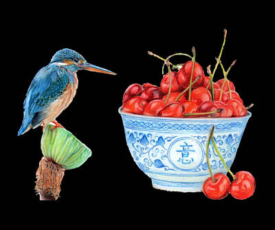 Caravaggio - Kingfisher and cherries by Andreaa Liew