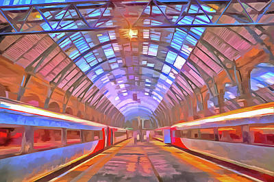 Santas Reindeers Royalty Free Images - Kings Cross Station Platform Pop Art Royalty-Free Image by David Pyatt