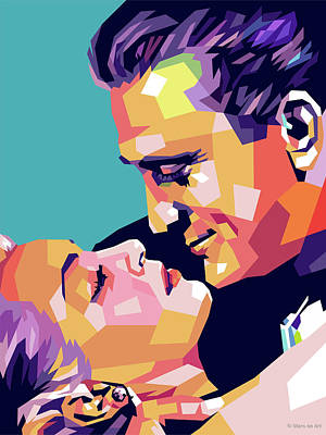 Digital Art Royalty Free Images - Kirk Douglas and Lana Turner Royalty-Free Image by Stars on Art