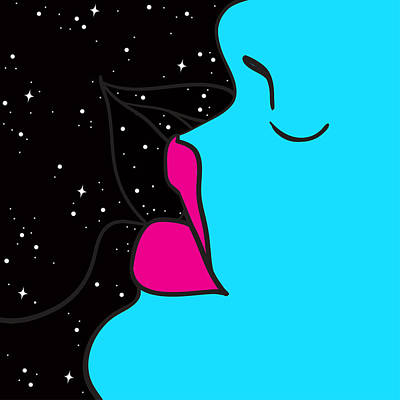Royalty-Free and Rights-Managed Images - Kiss. Abstract illustration. Futuristic art by Julien