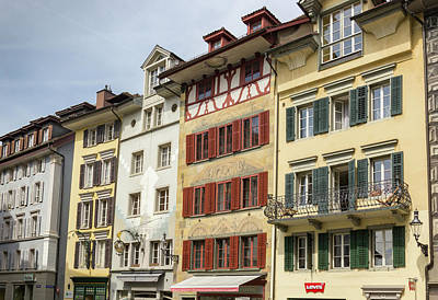 Popstar And Musician Paintings - Kornmarkt Buildings Lucern by Teresa Mucha