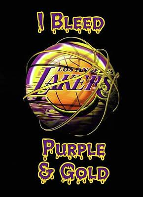 Sports Royalty-Free and Rights-Managed Images - LA Lakers Purple And Gold by Michael Stout