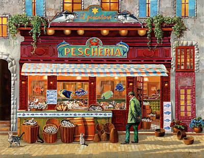 Animals Paintings - La Pescheria Del Pescatore by Guido Borelli