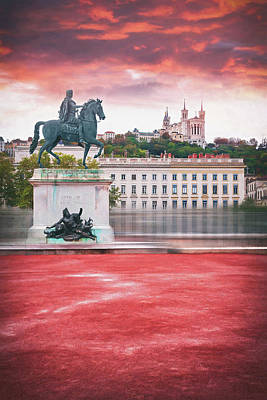 Royalty-Free and Rights-Managed Images - La Place Bellecour Lyon France  by Carol Japp