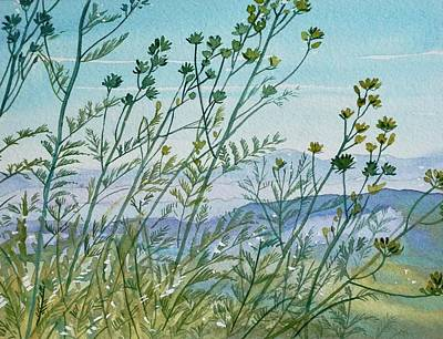 Target Threshold Watercolor - Lace Fern, Herb and Vetch - Mishe Mokwa Trail  by Luisa Millicent