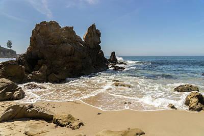 Classic Christmas Movies - Lacy Seafoam and Jagged Rocks - Corona Del Mar Beach Orange County California by Georgia Mizuleva