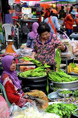 Design Turnpike Vintage Maps - Lady examines vegetables as fresh food market bazaar  in Hatyai Thailand by Imran Ahmed