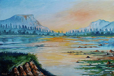 Surrealism Royalty Free Images - Lake and Mountains Royalty-Free Image by Anthony Mwangi