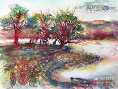 Painting - Lake Heron Red Sunset by Glen Neff