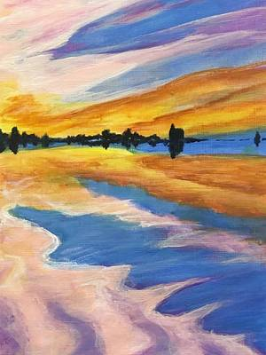 Painting - Lake Michigan Golden Sunset by Dara Thomson