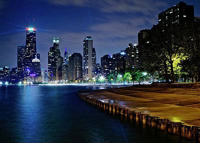 David Bowie Royalty Free Images - Lake Michigan Lights up Late at Night Royalty-Free Image by Frozen in Time Fine Art Photography