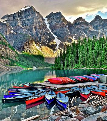 Classical Masterpiece Still Life Paintings - Lake Moraine in Sensational Banff by Frozen in Time Fine Art Photography